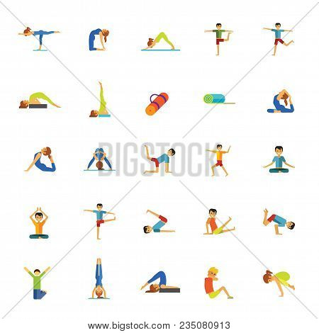 Icon Set Of Man And Woman Practicing Yoga Poses. Relaxation Exercise, Meditation, Pilates. Fitness C