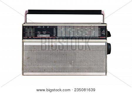 Old Vintage Dirty Analog Radio Isolated On White Background