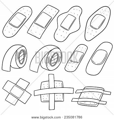 Vector Set Of Medical Plaster Hand Drawn Cartoon