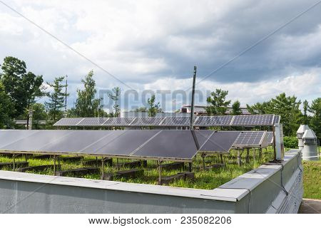 Solar Battery Background Of The Cloudy Sky