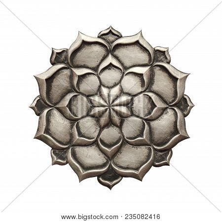 Steel Flower Bronze Color Isolated On White Background