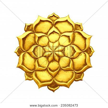 Steel Flower Golden Color Isolated On White Background