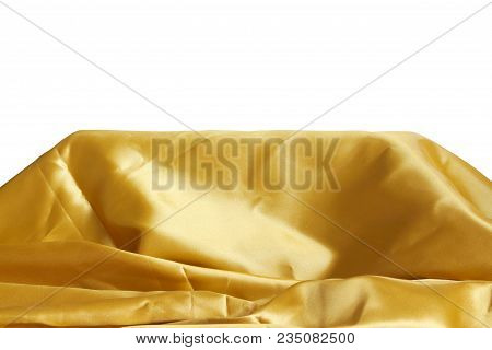 Gold Silk Fabric Stand For Present Product On White Background