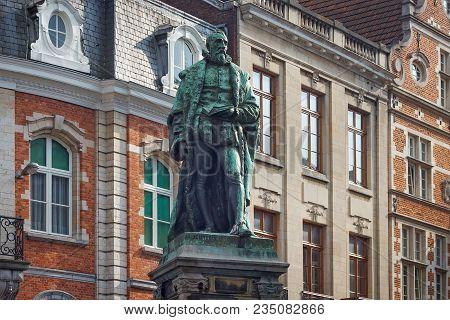 Leuven, Belgium - September 05, 2014: Statue Of The Justus Lipsius (1547 - 1606) On The Lipsiusstraa