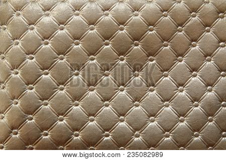 Closeup Of Gold Leather Pattern Delicate Striped Luxurious Background