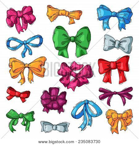 Bow Vector Bowknot Or Ribbon For Decorating Gifts On Christmas Or Birtrhday Illustration Set Element