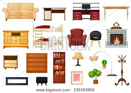 Furniture Vector Furnishings Design Of Living-room And Furnished Interior In Apartment Set Of Sofa T