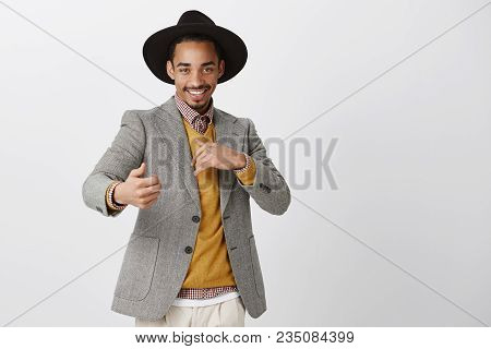 Flirty Romantic Male Wanting Have Fun. Studio Shot Of Satisfied Confident African-american Man In St