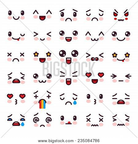 Kawaii Vector Cartoon Emoticon Character With Different Emotions And Face Expression Illustration Em