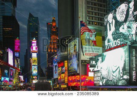 Manhattan, New York, Usa - November 15, 2011; Times Square During Night Time