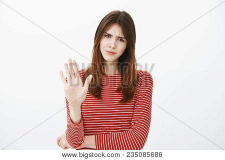 Girl Prefers Open Relationship, Hate Talking About Marriage. Displeased Annoyed Woman In Striped Out