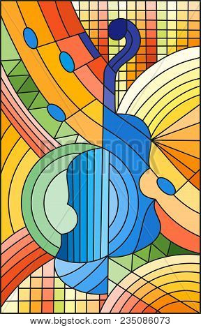 Illustration In Stained Glass Style On The Subject Of Music , The Shape Of An Abstract Violin On Geo