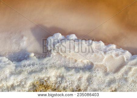 Texture of raw salt on sea water in evaporation ponds process at Phetchaburi province,Thailand ( Fleur De Sel ) poster