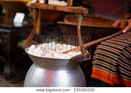 Silk Cocoons Boiling In Large Pot For Thread Unwinding At Factory