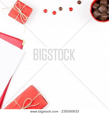 Chocolate Sweets, Gift Box, Red Lipstick Flat Lay. Feminine Background. Top View