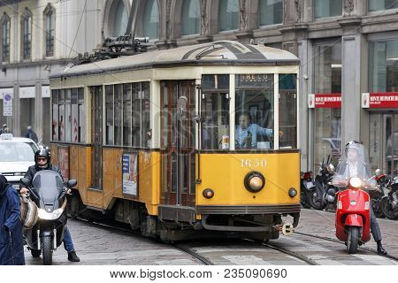 Milan, Italy - October 03: Trough The Center Of The City Passes Almost Historic Trams In Milan, Ital