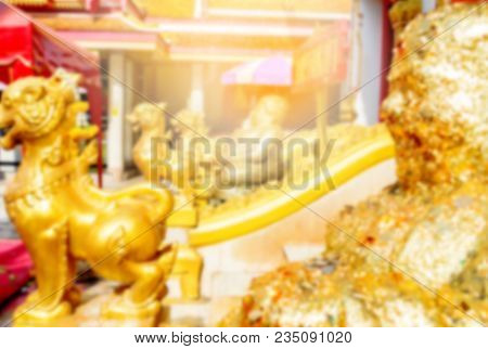 Enviroment Outside Temple With Beautiful Golden Buddha Statue And Lion Infront Entrace Buddhist Sanc