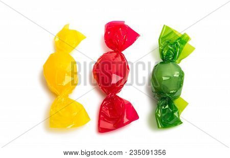 Candy In Wrapper Isolated On White Background