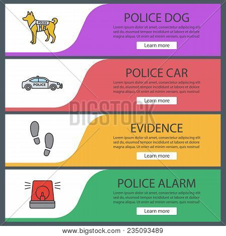 Police Web Banner Templates Set. Military Dog, Car, Footprints, Alarm. Website Color Menu Items. Vec