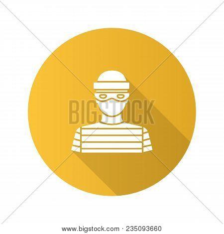 Robber Flat Design Long Shadow Glyph Icon. Thief. Housebreaker. Vector Silhouette Illustration