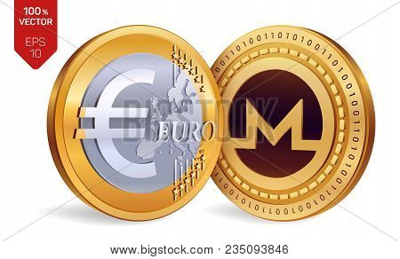 Monero. Euro. 3d Isometric Physical Coins. Digital Currency. Cryptocurrency. Golden Coins With Moner