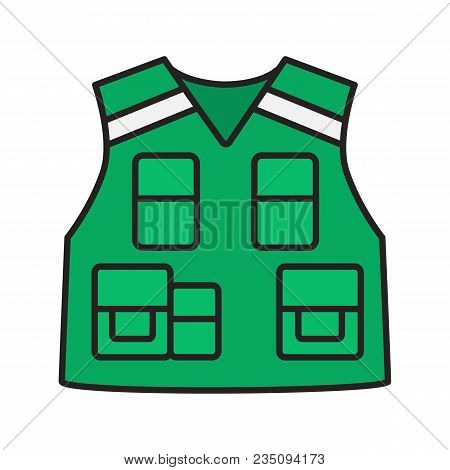 Police Tactical Vest Color Icon. Bulletproof Waistcoat. Fisherman, Photographer Clothes. Isolated Ve