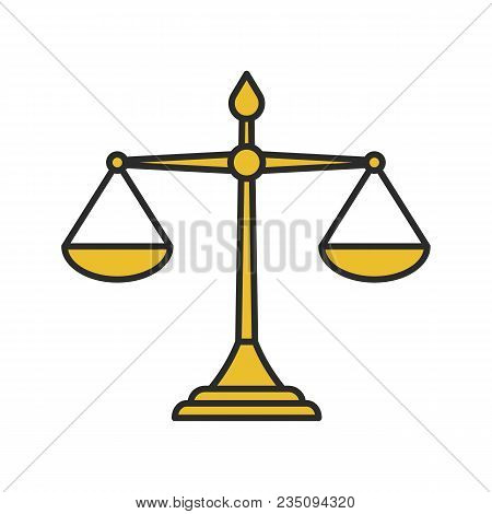 Justice Scales Color Icon. Equality. Judgement. Isolated Vector Illustration
