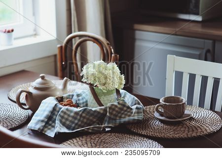 Cozy Summer Morning At Rustic Country House Kitchen. Tea, Cookies And Bouquet Of Fresh Flowers. Casu