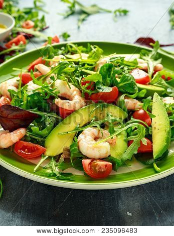 Fresh Avocado, Shrimps Salad With Lettuce Green Mix, Cherry Tomatoes, Herbs And Olive Oil, Lemon Dre