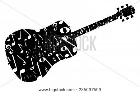 A Typical Acoustic Guitar Silhouette With Musical Notes Isolated Over A White Background.