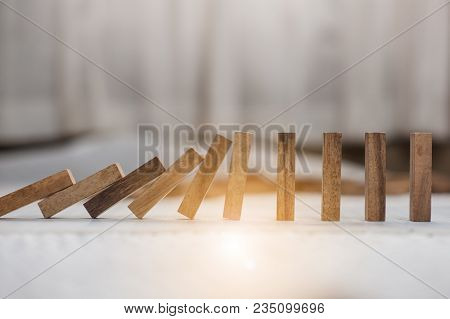 Domino Effect Made Up From Wooden Blocks Shape Toy.domino Effect In Business Concept.the Domino Wood