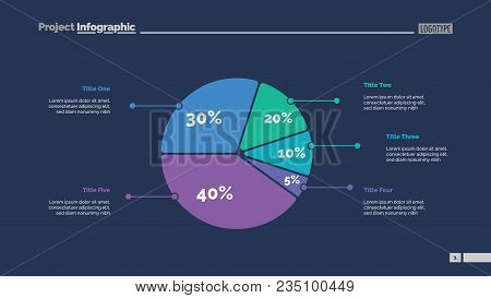 Five Sectors Pie Chart Slide Template. Business Data. Review, Assessment, Design. Creative Concept F