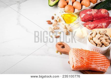 Ketogenic Low Carbs Diet Concept. Healthy Balanced Food With High Content Of Healthy Fats. Diet For