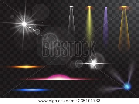 Vector Illustration Of Light Sources, Concert Lighting, Stage Spotlights Set. Concert Spotlight With