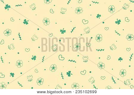 Cute green botanicals and heart shape pattern on pastel beige background. Beautiful botanicals pattern in abstract style by doodle art hand drawing illustration. Concept about environment and plants and botanicals for background or wallpaper. poster