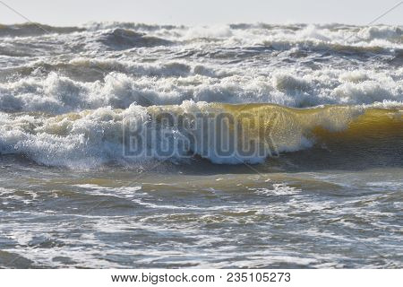 Destructive Waves Of The Baltic Sea During A Storm, Storm Waves On The Sea