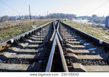 Railway Junction, Railway Tracks, High-speed Railway From Rail And Sleepers