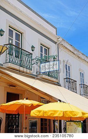 Lagos, Portugal - June 9, 2017 - Don Sebastiao Restaurant Along The R 25 De Abril Street In The Old