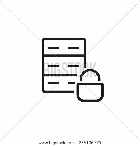 Icon Of Server. Hosting, Network, System. Data Protection Concept. Can Be Used For Topics Like Datab