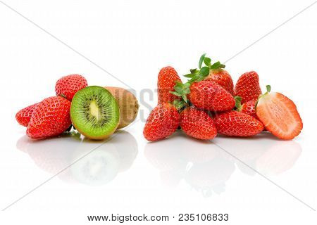 Ripe Strawberry And Kiwi On White Background. Horizontal Photo.
