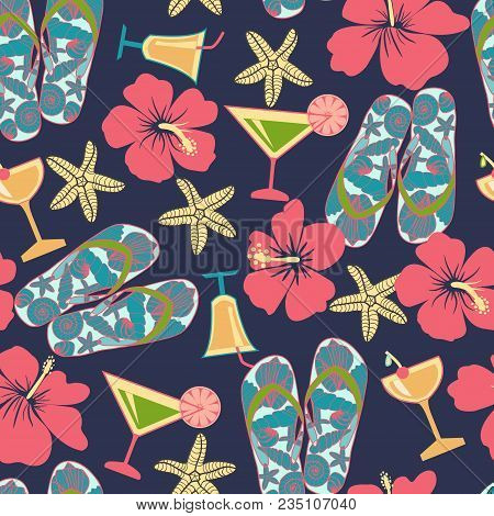 Pattern In Beach Style. Summer Vacation Retro Pattern. Vintage Hand Drawn Texture With Beach Objects