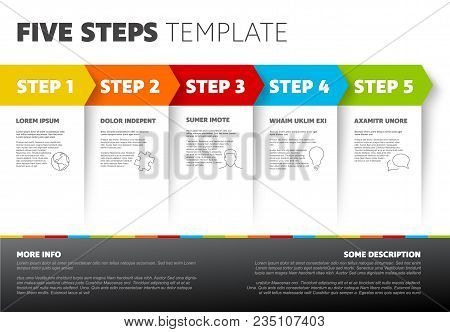 One Two Three Four Five - Vector Light Progress Steps Template With Descriptions And Icons