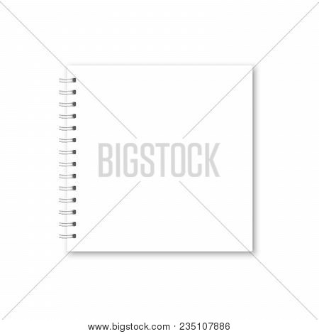 Vector Realistic Opened Notebook Cover. Square White Metallic Spiral Bound Blank Notebook, Copybook,