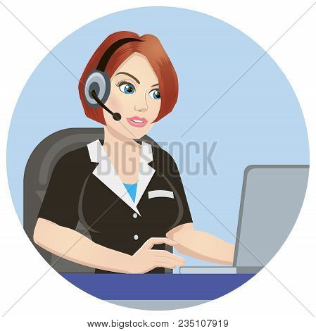 Call Center Operator At Work. Isolated Icon On White Background. Emergency Concept With Medical Help