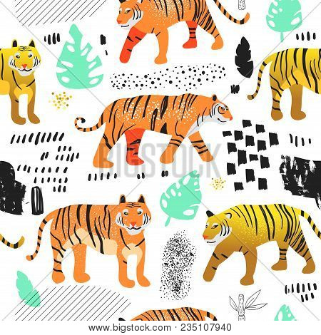Seamless Pattern With Cute Tigers. Childish Wildlife Animals Background For Fabric Textile, Wallpape