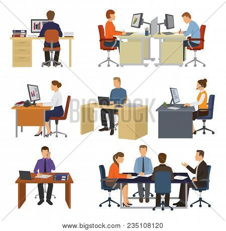 Business People Vector Professional Workers Sitting At Table With Laptop Or Computer In Office Illus