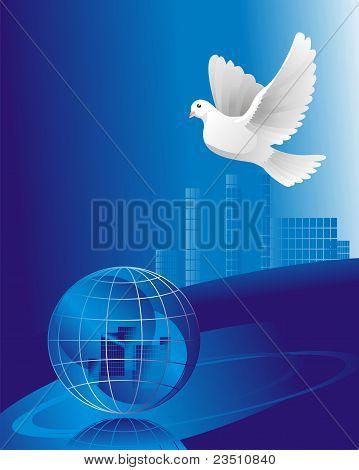 snowy dove of peace near sphere globe poster