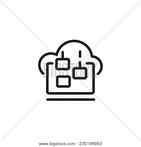 Icon Of Downloading Files From Cloud Storage. Access, Connection, Saving. Data Management Concept. C