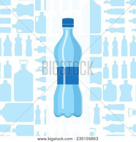 Plastic Water Bottle Vector Blank Brochure Nature Blue Clean Liquid Aqua Fluid Blank Template Silhou