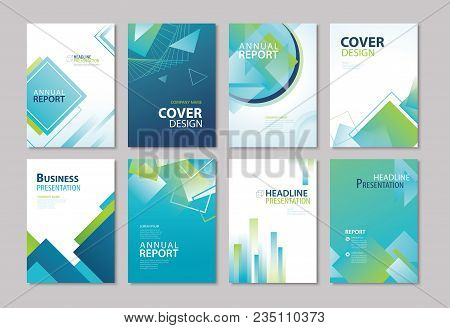 Set Of Blue Cover Annual Report, Brochure, Design Templates. Use For Business Magazine, Flyer, Prese